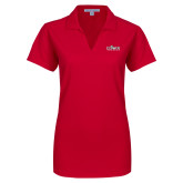 Ladies Red Dry Zone Grid Polo-Secondary Logo