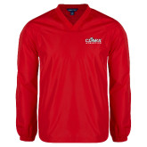 V Neck Red Raglan Windshirt-Primary Logo