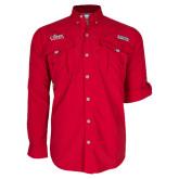 Columbia Bahama II Red Long Sleeve Shirt-Primary Logo