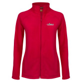 Ladies Fleece Full Zip Red Jacket-Secondary Logo