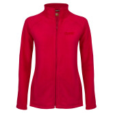 Ladies Fleece Full Zip Red Jacket-Clark Athletics