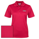 Ladies Red Dry Mesh Polo-Secondary Logo