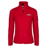 Columbia Ladies Full Zip Red Fleece Jacket-Primary Logo