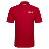 Red Textured Saddle Shoulder Polo-Primary Logo
