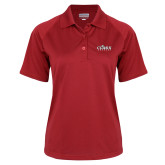 Ladies Red Textured Saddle Shoulder Polo-Secondary Logo