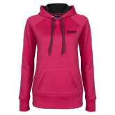 Ladies Pink Raspberry Tech Fleece Hoodie-Clark Athletics