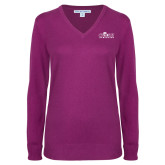 Ladies Deep Berry V Neck Sweater-Primary Logo