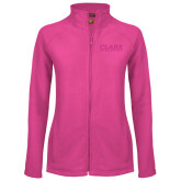Ladies Fleece Full Zip Raspberry Jacket-Clark Athletics