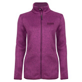 Dark Pink Heather Ladies Fleece Jacket-Clark Athletics
