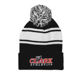 Black/White Two Tone Knit Pom Beanie w/Cuff-Primary Logo