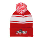 Red/White Two Tone Knit Pom Beanie w/Cuff-Primary Logo