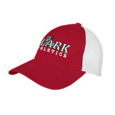 Red/White Mesh Back Unstructured Low Profile Hat-Primary Logo