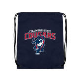 Navy Drawstring Backpack-Columbus State Cougars w/ Cougar Arched