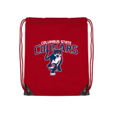 Red Drawstring Backpack-Columbus State Cougars w/ Cougar Arched