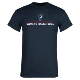 Navy T Shirt-Womens Basketball Stacked