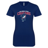 Next Level Ladies SoftStyle Junior Fitted Navy Tee-Columbus State Cougars w/ Cougar Arched