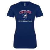 Next Level Ladies SoftStyle Junior Fitted Navy Tee-Mens Basketball