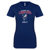 Next Level Ladies SoftStyle Junior Fitted Navy Tee-Golf