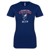 Next Level Ladies SoftStyle Junior Fitted Navy Tee-XCTF