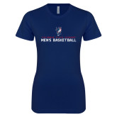 Next Level Ladies SoftStyle Junior Fitted Navy Tee-Mens Basketball Stacked