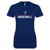Next Level Ladies SoftStyle Junior Fitted Navy Tee-Baseball Stacked