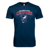 Next Level SoftStyle Navy T Shirt-Columbus State Cougars w/ Cougar Arched