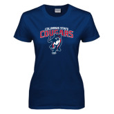 Ladies Navy T Shirt-Columbus State Cougars w/ Cougar Arched