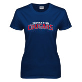 Ladies Navy T Shirt-Arched Columbus State Cougars