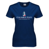 Ladies Navy T Shirt-Institutional Mark