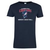 Ladies Navy T Shirt-Womens Basketball