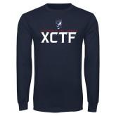 Navy Long Sleeve T Shirt-XCTF