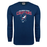 Navy Long Sleeve T Shirt-Columbus State Cougars w/ Cougar Arched