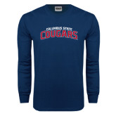 Navy Long Sleeve T Shirt-Arched Columbus State Cougars