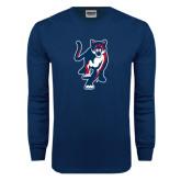 Navy Long Sleeve T Shirt-Cougar