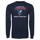 Navy Long Sleeve T Shirt-Womens Basketball