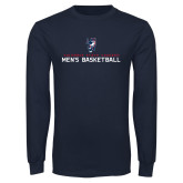 Navy Long Sleeve T Shirt-Mens Basketball Stacked