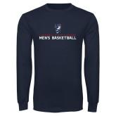 Navy Long Sleeve T Shirt-Mens Basketball Stacked