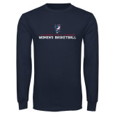 Navy Long Sleeve T Shirt-Womens Basketball Stacked
