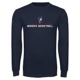 Navy Long Sleeve T Shirt-Womens Basketball Stacked