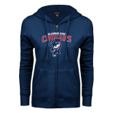 ENZA Ladies Navy Fleece Full Zip Hoodie-Columbus State Cougars w/ Cougar Arched