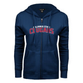 ENZA Ladies Navy Fleece Full Zip Hoodie-Arched Columbus State Cougars