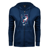 ENZA Ladies Navy Fleece Full Zip Hoodie-Cougar