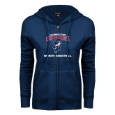 ENZA Ladies Navy Fleece Full Zip Hoodie-Womens Basketball