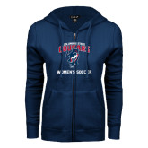 ENZA Ladies Navy Fleece Full Zip Hoodie-Womans Soccer