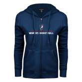 ENZA Ladies Navy Fleece Full Zip Hoodie-Womens Basketball Stacked