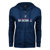 ENZA Ladies Navy Fleece Full Zip Hoodie-Baseball Stacked