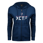 ENZA Ladies Navy Fleece Full Zip Hoodie-XCTF