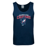 Navy Tank Top-Columbus State Cougars w/ Cougar Arched