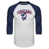 White/Navy Raglan Baseball T-Shirt-Columbus State Cougars w/ Cougar Arched