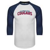White/Navy Raglan Baseball T-Shirt-Arched Columbus State Cougars